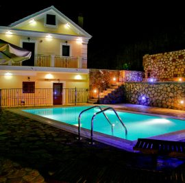 Rent accommodation on Ithaca, evening at the swimming pool