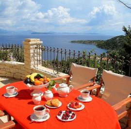 Rent accommodation on Ithaca, breakfast with view