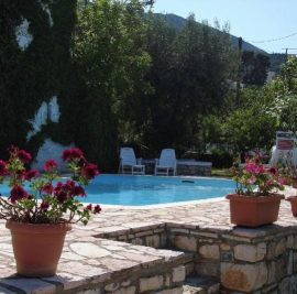 Accommodation on Ithaca, garden with pool